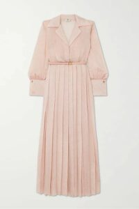 Fendi - Belted Pleated Silk-blend Cloqué Maxi Dress - Pink