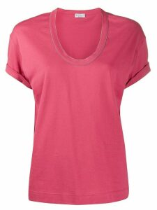 Brunello Cucinelli V-neck T-shirt - PINK
