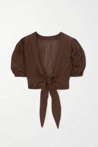 Lisa Marie Fernandez - + Net Sustain Pouf Tie-front Organic Linen-blend Gauze Top - Brown