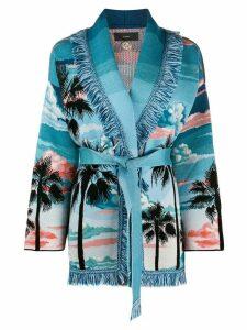 Alanui wrap style cardigan - Blue
