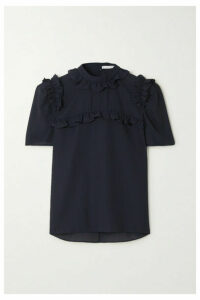 Laura Garcia - Betty Ruffled Georgette Blouse - Navy