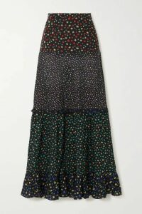 RIXO - Dakota Tiered Floral-print Modal Maxi Skirt - Black