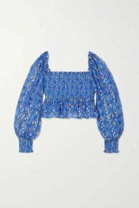 RIXO - Eloise Shirred Printed Metallic Fil Coupe Silk-blend Top - Blue
