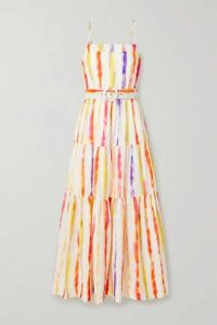 NICHOLAS - Kerala Belted Printed Cotton And Silk-blend Maxi Dress - White