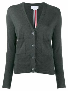 Thom Browne striped intarsia V-neck cardigan - Grey