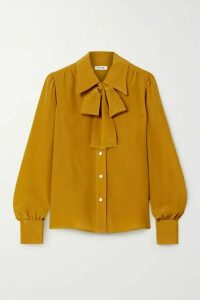 RE/DONE - Pussy-bow Silk Shirt - Yellow