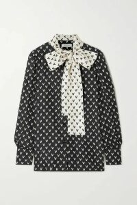 Valentino - Pussy-bow Printed Silk-satin Blouse - Black