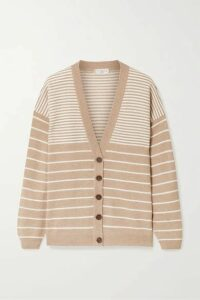 Brunello Cucinelli - Bead-embellished Striped Wool-blend Cardigan - Sand