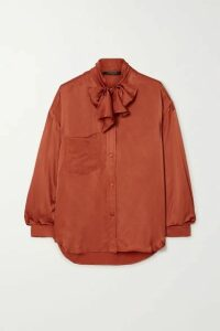 Mother of Pearl - + Net Sustain Elaine Pussy-bow Embellished Satin-jacquard Shirt - Brick