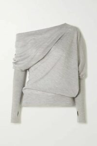 TOM FORD - Off-the-shoulder Cashmere And Silk-blend Sweater - Gray
