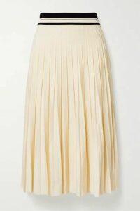 Tory Burch - Pleated Stretch-knit Midi Skirt - Cream