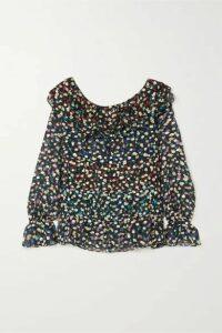 RIXO - Chloe Tiered Floral-print Fil Coupé Silk And Lurex-blend Chiffon Blouse - Black
