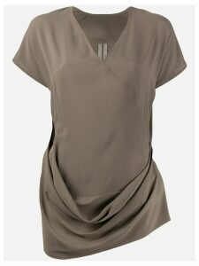 Rick Owens draped crepe T-shirt - Brown