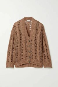 Brunello Cucinelli - Sequin-embellished Cable-knit Cotton-blend Cardigan - Light brown