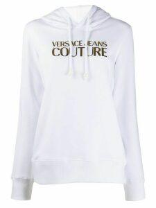 Versace Jeans Couture metallic logo print drawstring hoodie - White