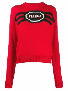 Miu Miu embroidered logo knitted jumper