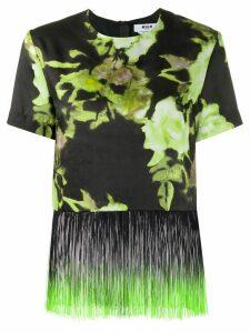 MSGM floral print fringe trim T-shirt - Green