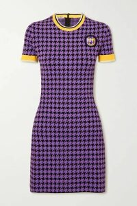 Miu Miu - Houndstooth Stretch-knit Mini Dress - Purple