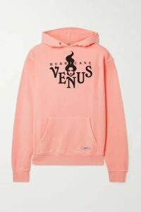 BLOUSE - Hurricane Venus Printed Organic Cotton-blend Jersey Hoodie - Peach