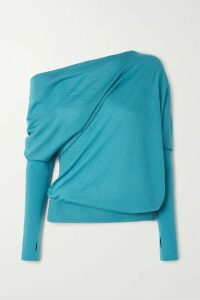 TOM FORD - One-shoulder Cashmere And Silk-blend Sweater - Turquoise