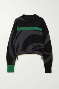 Sacai - Cropped Striped Intarsia Cotton Sweater - Gray