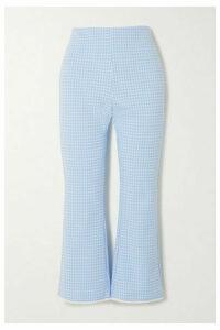 Miu Miu - Cropped Gingham Stretch-knit Flared Pants - Blue