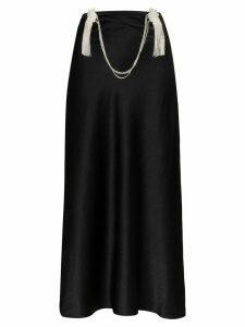 Collina Strada tasseled diamanté chain midi skirt - Black