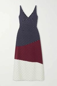 Gabriela Hearst - Elliot Paneled Polka-dot Silk And Wool-blend Midi Dress - Navy