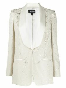 Just Cavalli shawl-lapel sequin blazer - White