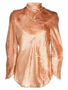 Petar Petrov Clare burnout velvet blouse - ORANGE