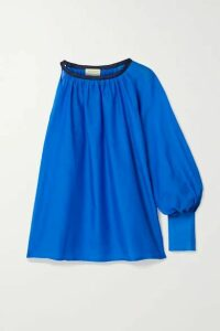 Zeus+Dione - Galene One-sleeve Linen-trimmed Cotton And Silk-blend Top - Blue