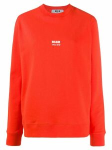 MSGM logo print T-shirt - ORANGE