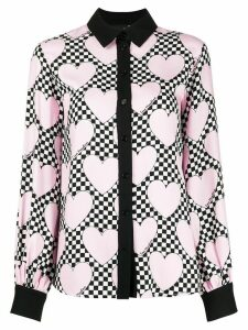 Love Moschino heart checkered print blouse - PINK