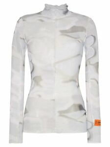 Heron Preston scalloped tie-dyed turtleneck top - Grey