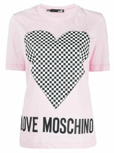 Love Moschino short sleeve checkered heart print T-shirt - PINK
