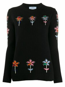 Prada flower intarsia jumper - Black