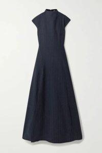 ANNA QUAN - Rhoda Pinstriped Twill Maxi Dress - Navy