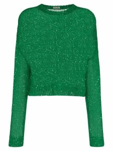 Miu Miu loose-knit sequin jumper - Green