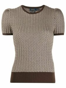 Polo Ralph Lauren herringbone intarsia knitted top - Brown