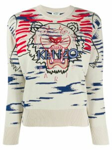 Kenzo Tiger embroidered jumper - NEUTRALS