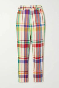 AREA - Crystal-embellished Checked Wool-blend Straight-leg Pants - Yellow