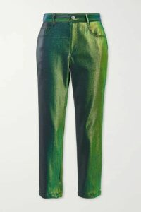 AREA - Lurex Straight-leg Pants - Green