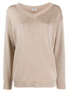 Brunello Cucinelli metallic loose-fit jumper - NEUTRALS