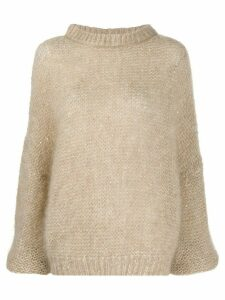 Brunello Cucinelli long sleeve chunky knit jumper - NEUTRALS