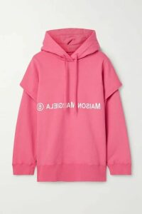 MM6 Maison Margiela - Oversized Layered Printed Cotton-jersey Hoodie - Bubblegum