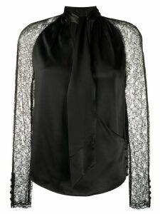 Jonathan Simkhai lace-sleeved satin blouse - Black