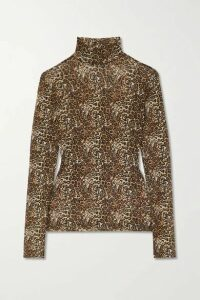 Reformation - Laney Leopard-print Stretch-mesh Turtleneck Top - Brown
