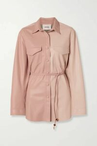 Nanushka - Eddy Belted Two-tone Vegan Leather Shirt - Blush