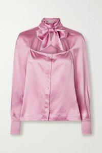 Fleur du Mal - Pussy-bow Cutout Silk-satin Blouse - Baby pink