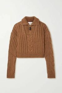 Nanushka - Eria Cropped Cable-knit Sweater - Light brown
